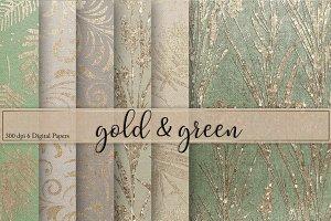 Gold & Green Textures Digital Paper