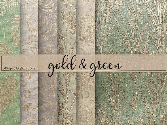 Gold Green Textures Digital Paper