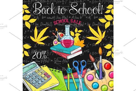 School Sale Poster Of Student Supplies Discount