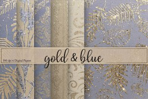 Gold & Blue Textures Digital Paper