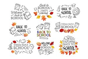 Back to School vector education stationery icons