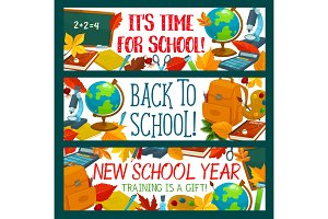 Back to School vector study stationery banners