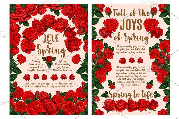 Rose Flower Greeting Card For Spring Season Design