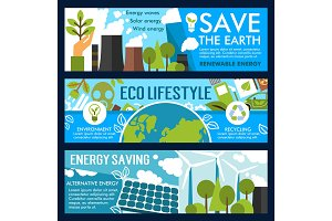 Vector save earth and eco lifestyle banners