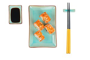 Sushi rolls with masago. Top view.