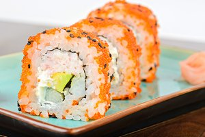 California maki sushi with orange masago
