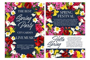 Spring holiday party invitation with flower frame