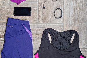 Flat lay shot of woman's sport accessories