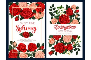 Spring flower poster for Mother Day greeting card