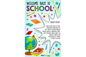 Back to School vector poster globe and book