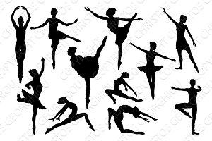 Ballet Dancer Dancing Silhouettes