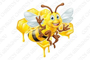 Bee Cartoon Character With Honey
