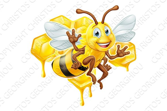 Bee Cartoon Character With Honey