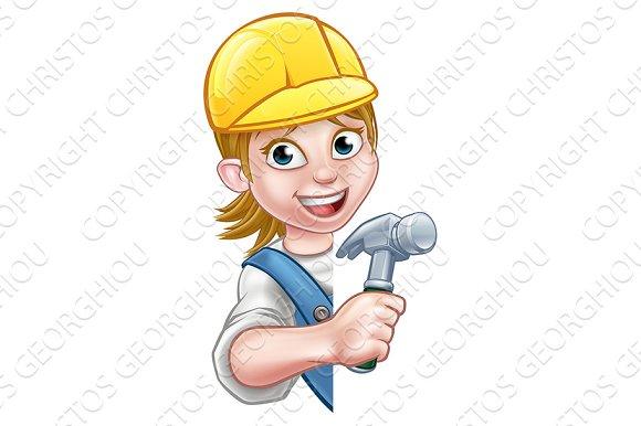 Cartoon Woman Builder Carpenter