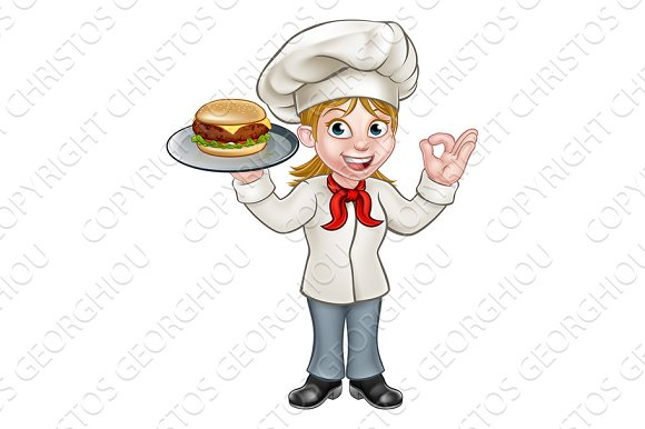 Chef Woman Holding Burger