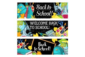 Back to School vector chalkboard sketch banners