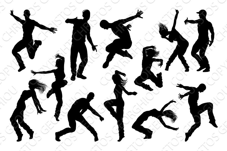 Street Dance Dancer Silhouettes in Illustrations