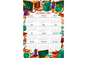 Back to School vector education calendar 2018