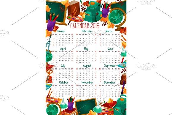 Back To School Vector Education Calendar 2018
