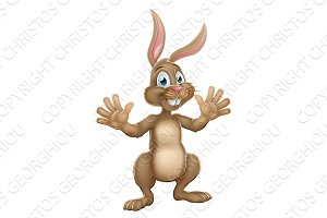 Cute Easter Bunny Rabbit Waving