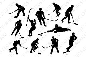 Hockey Player Silhouettes