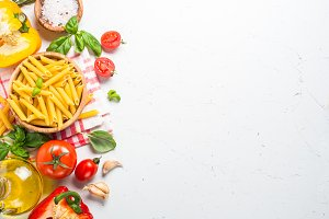 Italian food background on white top view.