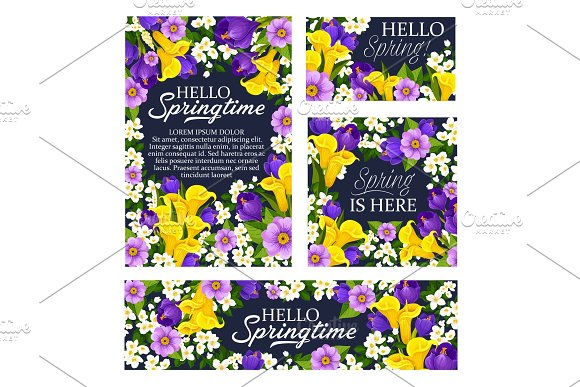 Spring Season Holiday Flowers Bloom Vector Posters