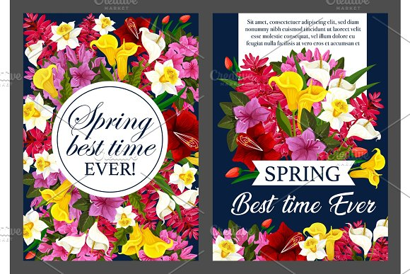 Spring Flower Bouquet Banner Of Springtime Holiday