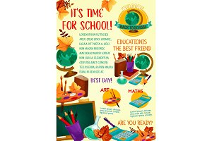 Back to school poster with education supplies