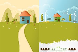 Village on the hills vector