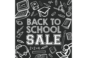 Back to School vector blackboard sale poster