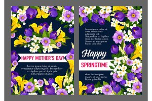 Mother Day Holiday greeting card of spring flower