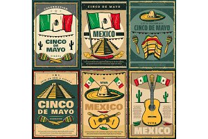 Cinco de Mayo and Viva Mexico retro poster design