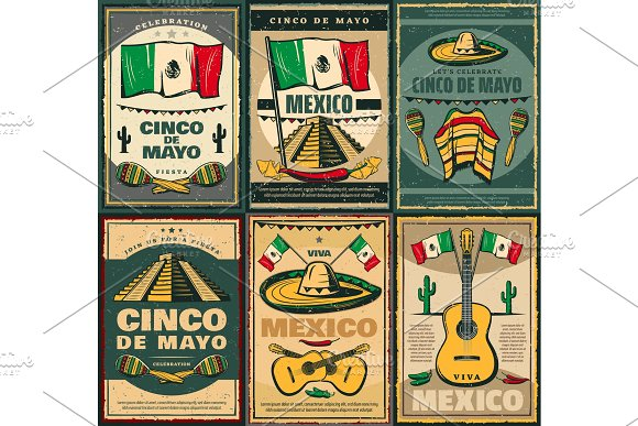Cinco De Mayo And Viva Mexico Retro Poster Design
