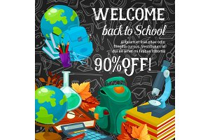 Sale banner of back to school season promotion