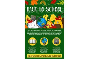 Back to School vector stationery chalkboard poster