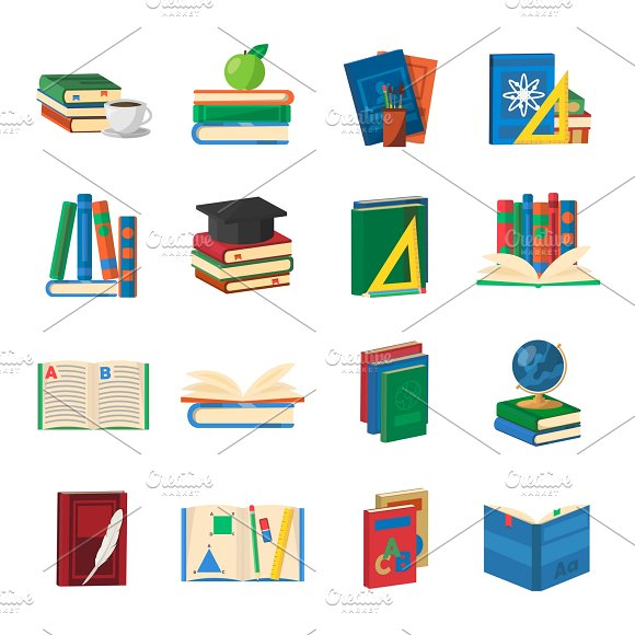 School Books Icons Set