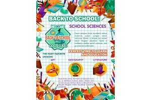 Back to School vector study science poster