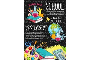 Back to School vector sale sketch design