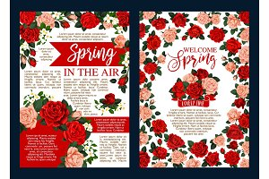 Spring holiday banner with flower frame and ribbon