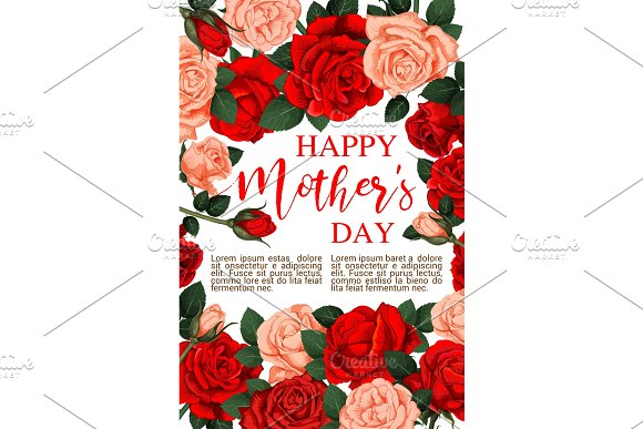 Vector Floral Roses Flowers For Mother Day Card