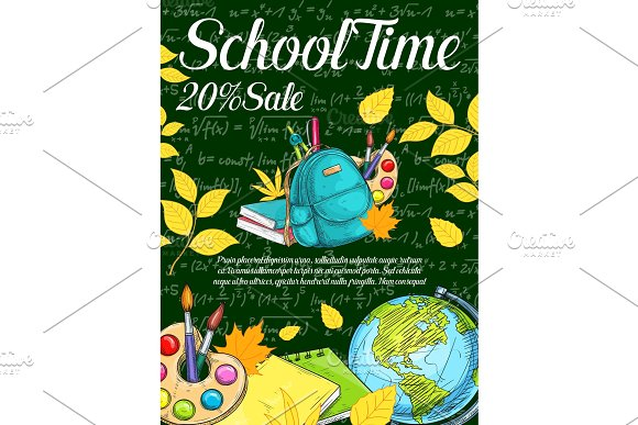 Back To School Season Sale Banner On Chalkboard