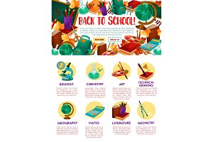 Back to School vector education site template