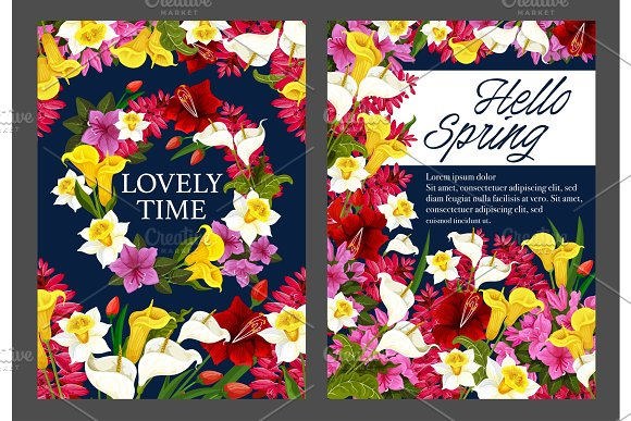 Hello Spring Floral Banner With Blooming Flower