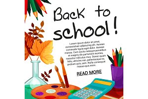 Back to School vector september autumn poster
