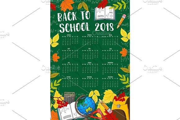 Back To School Vector 2018 Calendar Chalkboard