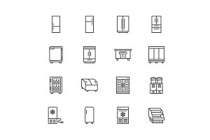 Fridge, Freezers Line Icons
