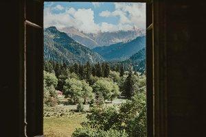 Mountains through the window