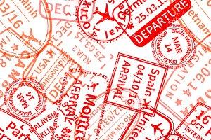 Red International travel visa stamps