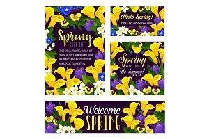 Vector spring flowers seasonal greeting posters